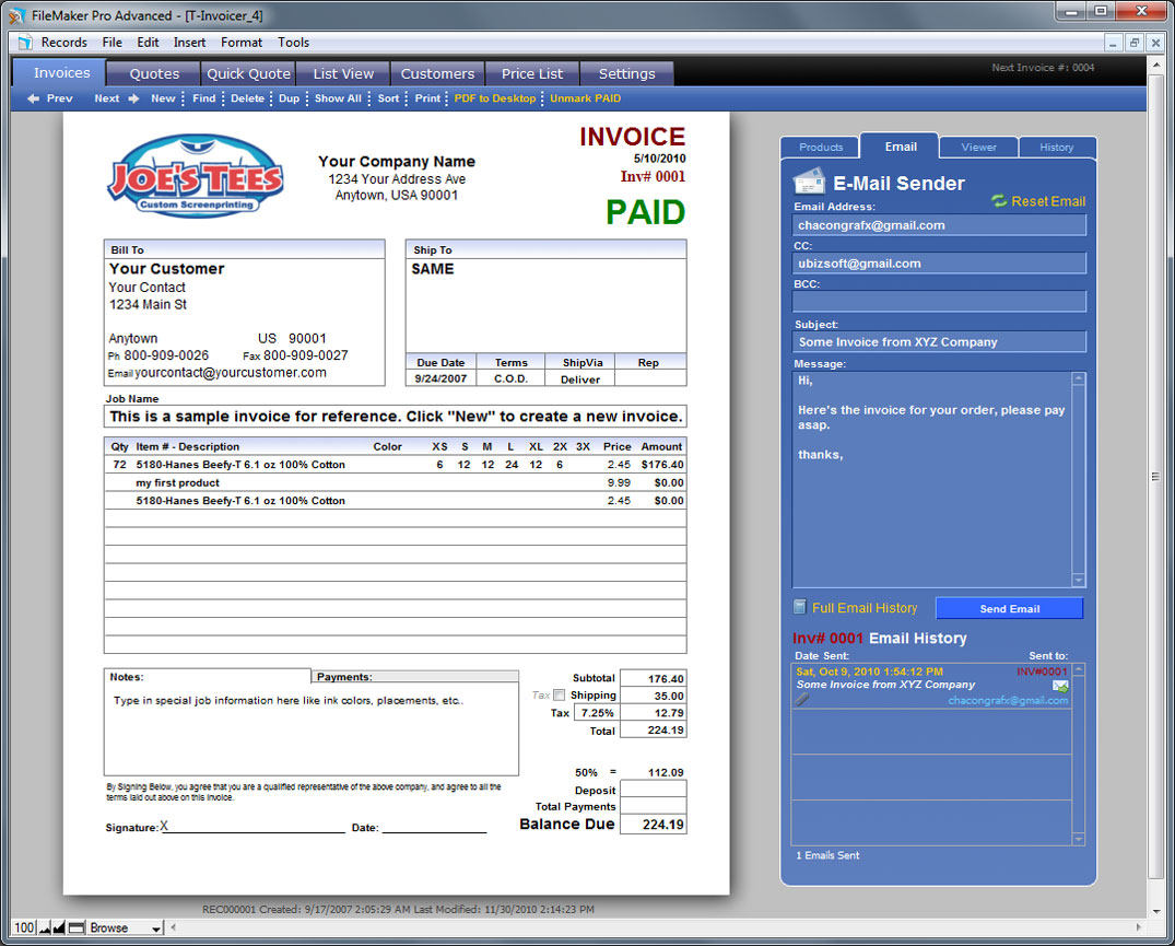 screen printing invoice template  T-Invoicer 4 - Easy to Use Invoicing for Screen Printers and ...